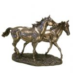 Polished Bronze Effect Trotting Horses Figurine Ornament 31 x 45 x 17cm